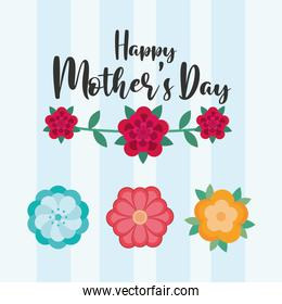 happy mothers day lettering and flowers striped background