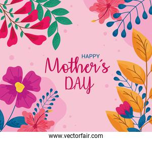 mothers day card with flowers pink background