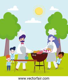people cooking outdoors