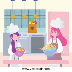 girls chef cooking