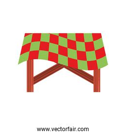 wooden table tablecloth