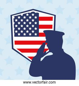 officer and flag