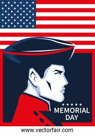 memorial day card with soldier and flag