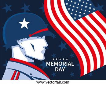 memorial day with soldier and flag