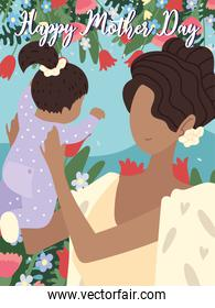 mothers day card with afro mom and  baby characters