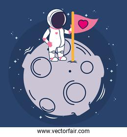 astronaut and moon