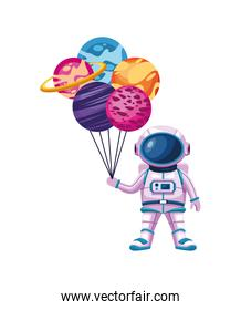 astronaut with planets
