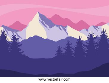 peaks and forest
