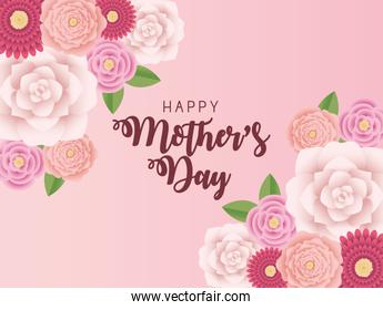 mothers day card with flowers in pink background