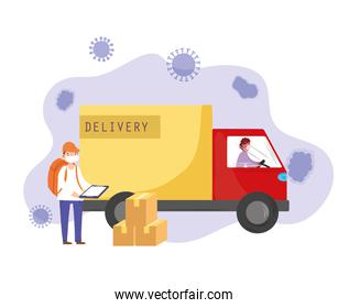 delivery workers truck