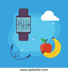 smartwatch with fruits