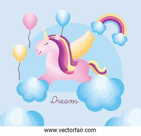 unicorn in clouds and balloons helium
