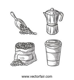 coffee sketch icons