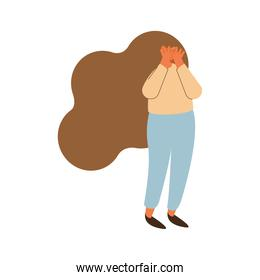 worried woman character