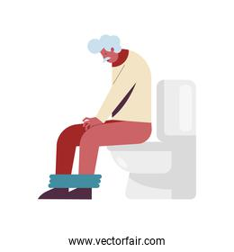 granfather in toilet