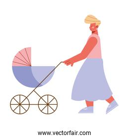 mom with cart