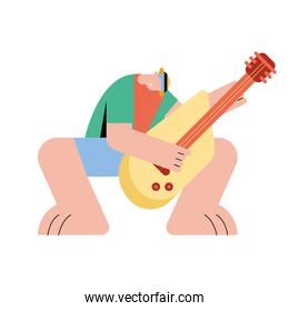 male playing guitar