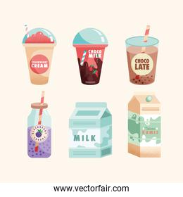 six dairy products set icons