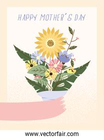 mothers day card with hand lifting flowers bouquet