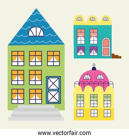 three buildings constructions