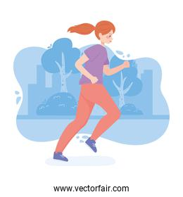 female young running