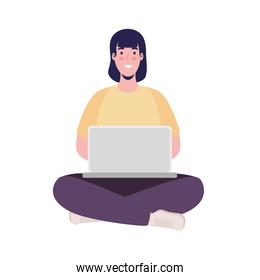 woman connecting seated