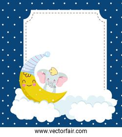 baby shower card with elephant in moon