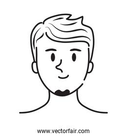 man with beard line style character