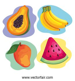four tropical fruits healthy