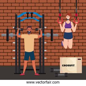 couple practicing crossfit