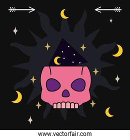 skull with moons