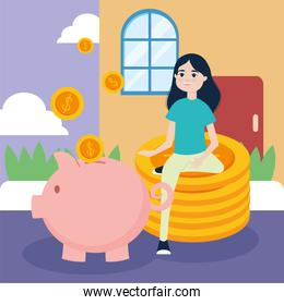 Girl on coins