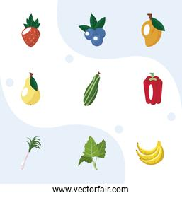 nine food icons