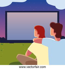 couple outdoor cinema