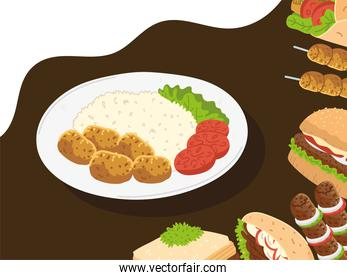 collection of arabian food