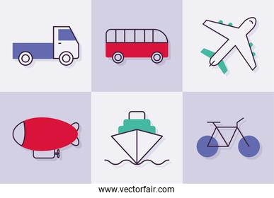 six transport icons