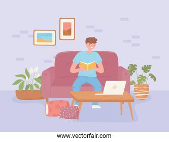 boy studying home
