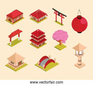 asian isometric set
