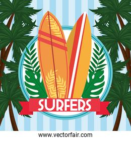 surfers surfboards banner