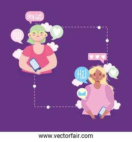 girls mobile chatting