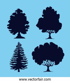 trees silhouettes icons