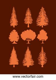trees silhouettes designs