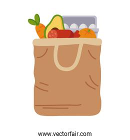 handle shopping bag with groceries