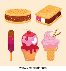 five iced confectionery icons