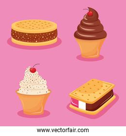 four iced confectionery icons