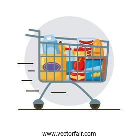 speed shopping cart with groceries