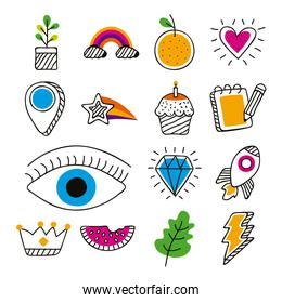 fifteen doodle icons