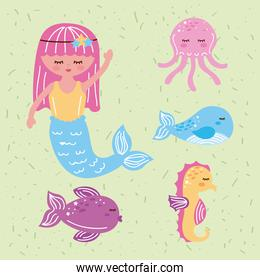 mermaid and five icons