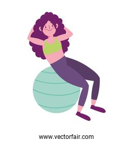 girl exercises with ball