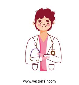 physician with stethoscope